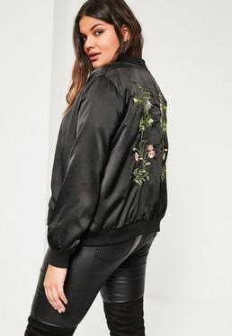 Plus Size Black Embroidered Bomber Jacket