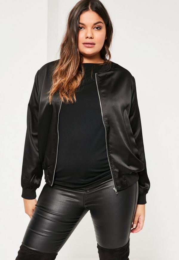 Plus Size Black Embroidered Bomber Jacket