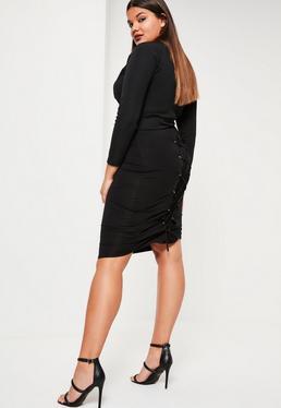 Plus Size Black Lace Up Midi Skirt