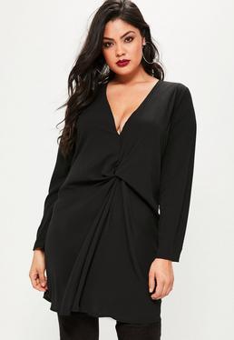 Robe grande taille oversize noire à nœud