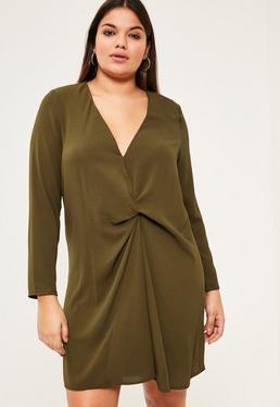 Luźna sukienka w kolorze khaki z dekoltem w serek plus size