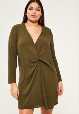 Plus Size Khaki Oversized Knot Detail Dress