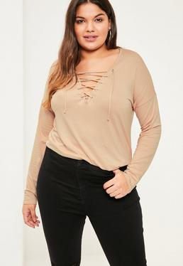 Plus Size Nude Long Sleeve Lace Up Top