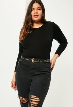 Plus Size Black Long Sleeve Crew Neck Bodysuit