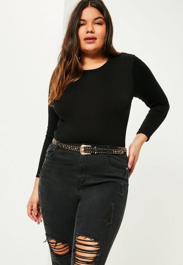 Plus Size Black Long Sleeve Crew Neck Bodysuit