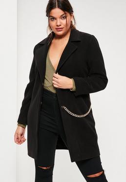 Plus Size Black Faux Wool Chain Detail Coat