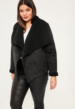 Plus Size Black Faux Shearling Waterfall Short Coat