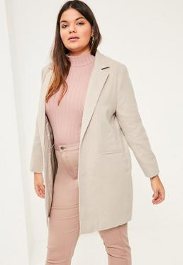 Szara wełniana krótka kurtka plus size