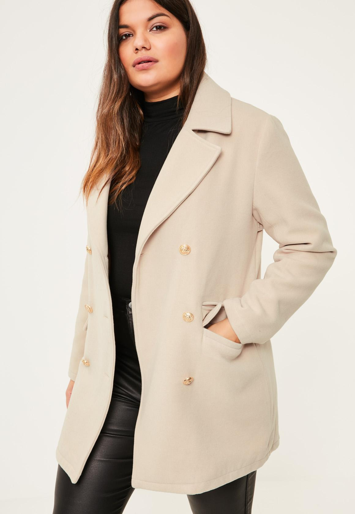 Previous Next - Plus Size Nude Short Faux Wool Military Coat Missguided