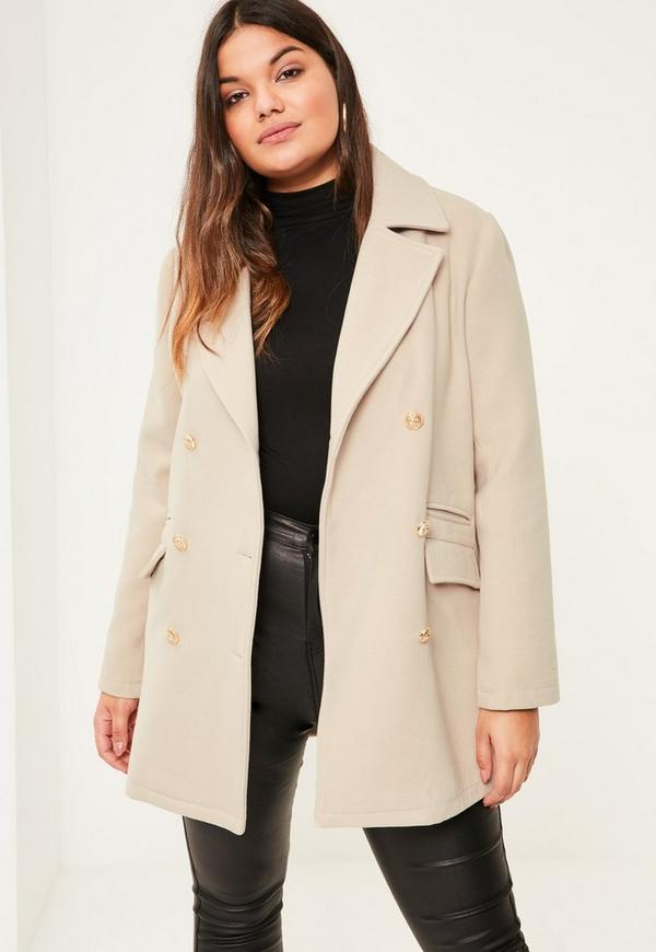 Plus Size Nude Short Faux Wool Military Coat. Previous Next - Plus Size Nude Short Faux Wool Military Coat Missguided