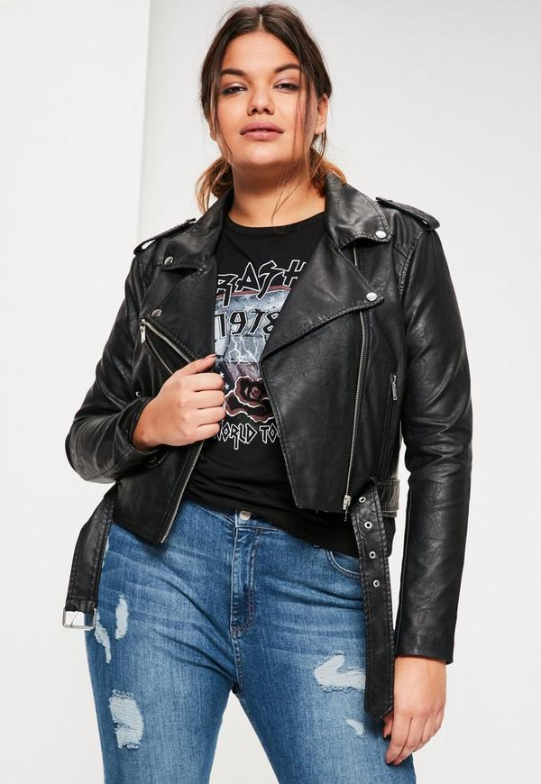 Plus Size Black Faux Leather Belted Biker Jacket | Missguided