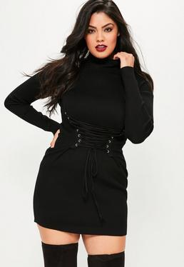 Plus Size Black Corset Lace Up Mini Dress