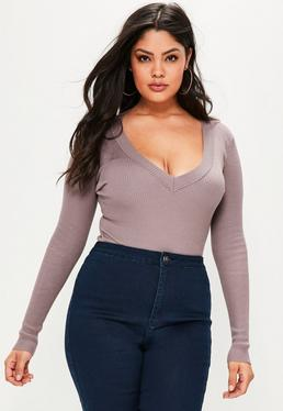 Plus Size Mauve Plunging Knitted Bodysuit