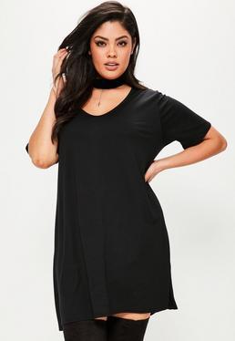 Plus Size Black V-Neck T-Shirt Dress