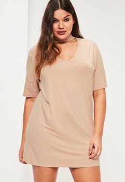 Plus Size Nude Choker Neck T-shirt Dress