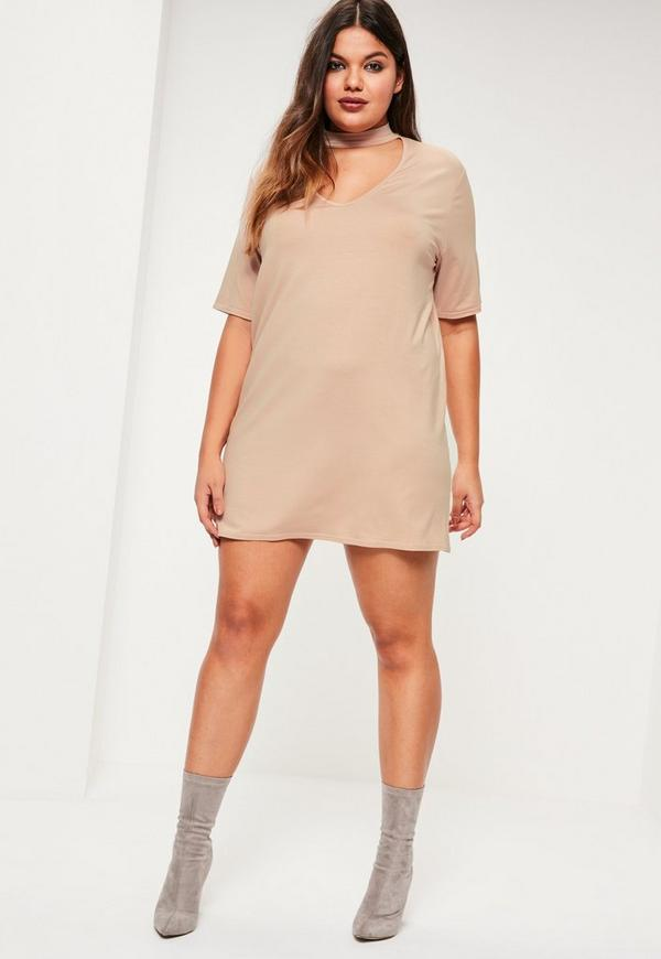 Plus Size Nude Choker Neck T Shirt Dress Missguided