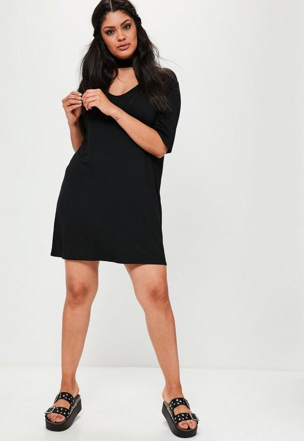 Plus Size Schwarzes Choker T-Shirt Kleid | Missguided