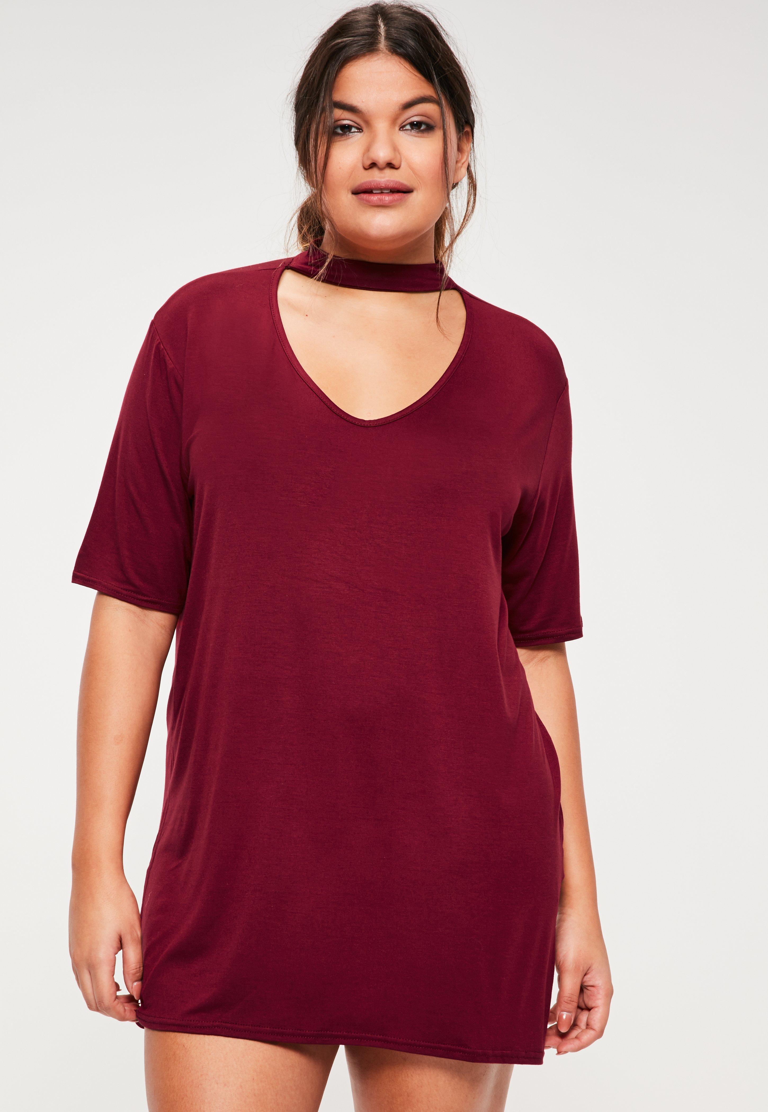 Plus Size Burgundy Choker Neck T-Shirt Dress| Missguided
