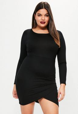 Plus Size Black Long Sleeve Asymmetric Dress