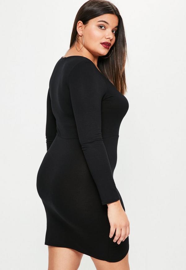 Plus Size Black Long Sleeve Asymmetric Dress Missguided