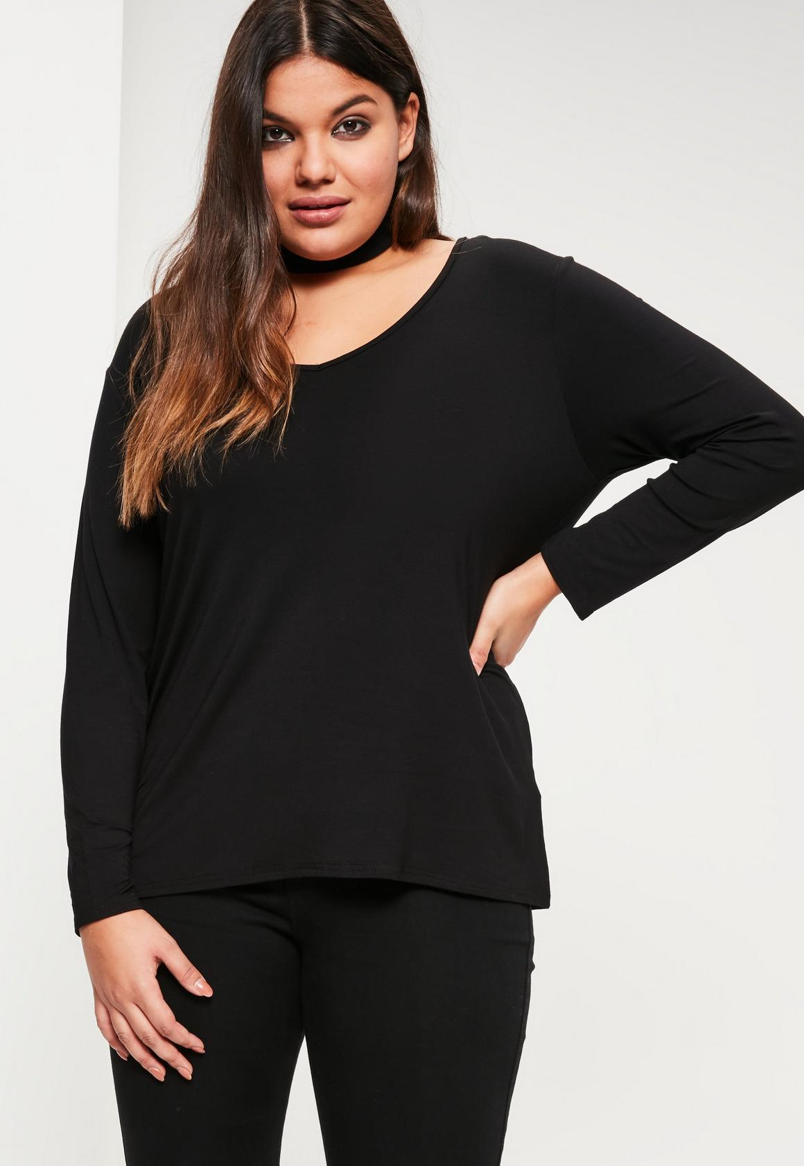 Plus Size Black Long Sleeve Boyfriend T-shirt | Missguided