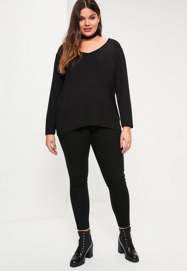 8bacd4088d0 Plus Size Black Long Sleeve Boyfriend T-shirt