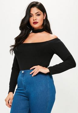 Plus Size Black Choker Bardot Bodysuit