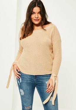 Karmelowy sweter z wiązaniami na rękawach Plus Size