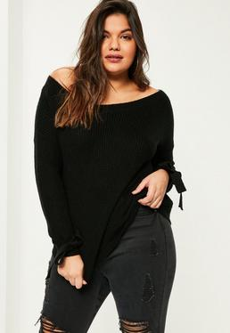Plus Size Black Tie Sleeve Bardot Jumper