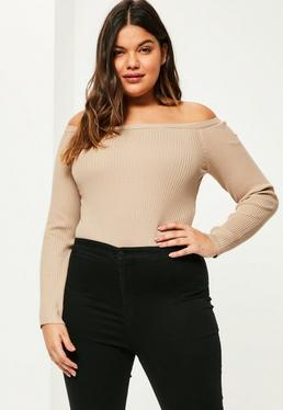 Plus Size Camel Ribbed Bardot Knitted Bodysuit