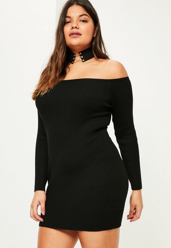 Plus Size Black Ribbed Off Shoulder Mini Jumper Dress