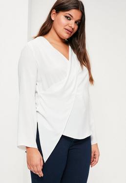 Plus Size White Wrap Blouse