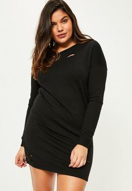 Czarna owersajzowa sukienka bluza z dziurami Plus Size
