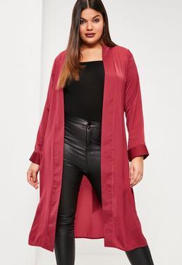 Plus Size Red Satin Tie Waist Duster Coat
