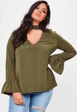 Plus Size Khaki Choker Neck Frill Sleeve Blouse