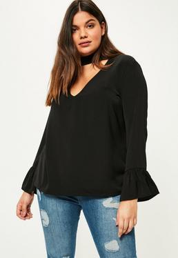 Plus Size Black Choker Neck Frill Sleeve Blouse
