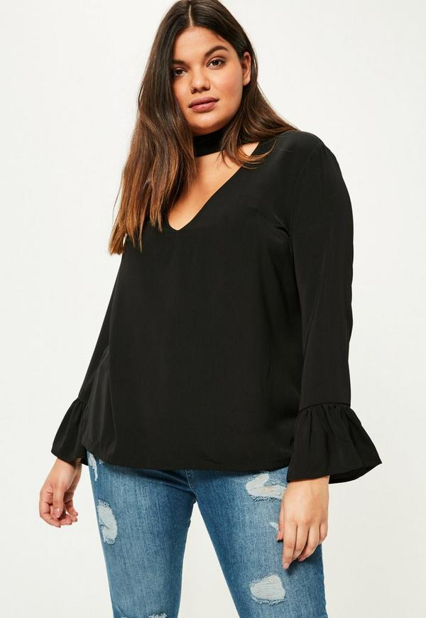 Plus Size Black Choker Neck Frill Sleeve Blouse