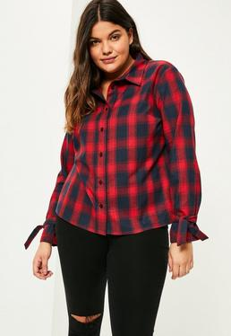 Plus Size Red Checked Tie Cuff Shirt