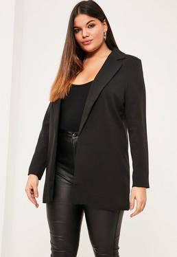Plus Size Klassischer Lang-Blazer in Schwarz