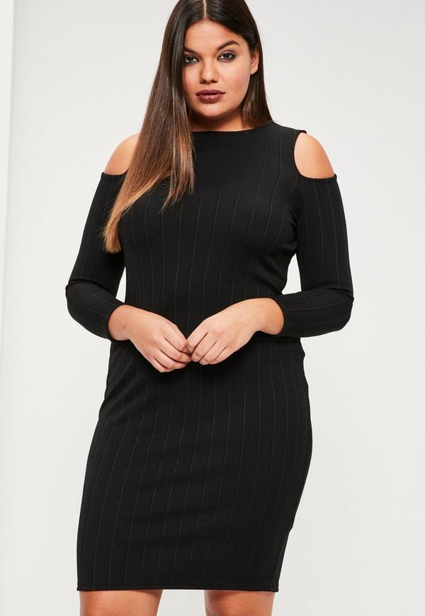 Plus Size Black Ribbed Cold Shoulder Bodycon Dress Missguided