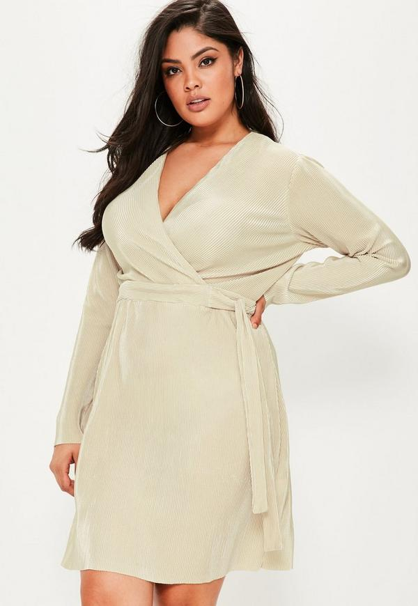 Plus Size Beige Pleated Tie Waist Dress