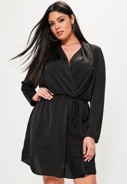 Plus Size Black Hammered Satin Tie Waist Dress