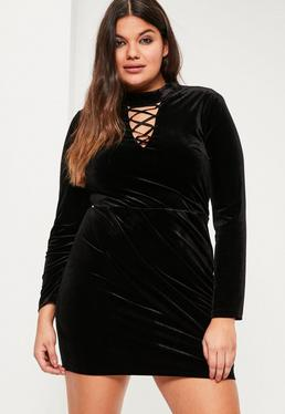 Plus Size Black Velvet Lace Up Detail Dress