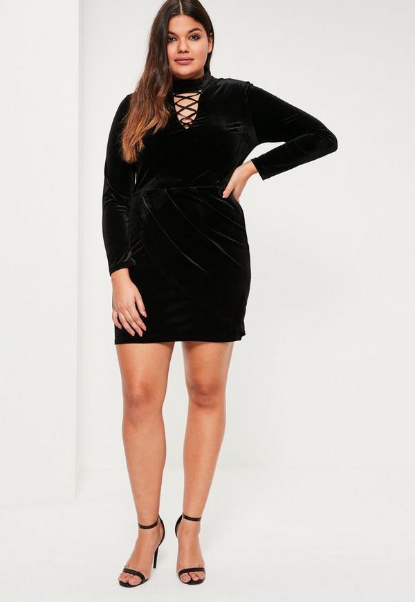 Plus Size Black Velvet Lace Up Detail Dress | Missguided