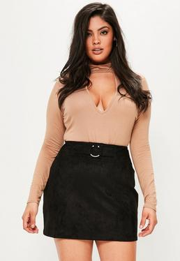 Plus Size Nude Choker Neck Bodysuit