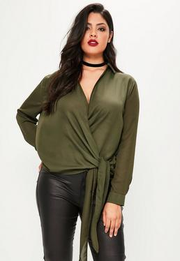 Plus Size Khaki Wrap Tie Side Blouse