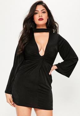 Plus Size Black Choker Neck Slinky Mini Dress