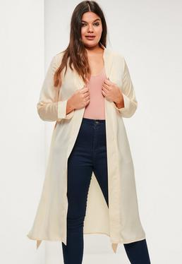 Plus Size Satin Duster-Mantel mit Kragen und Taillenband in Beige