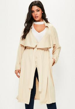 Plus Size Beige Waterfall Trench