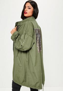 Owersajzowa kurtka parka z ozdobnymi cekinowymi plecami w kolorze khaki plus size